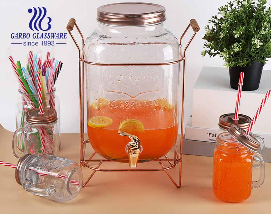 8 Liter Transparent Glass Mass Mason Jar Juice Jar Beverage Barrel Wine Fermentation Jar With Faucet and Stand