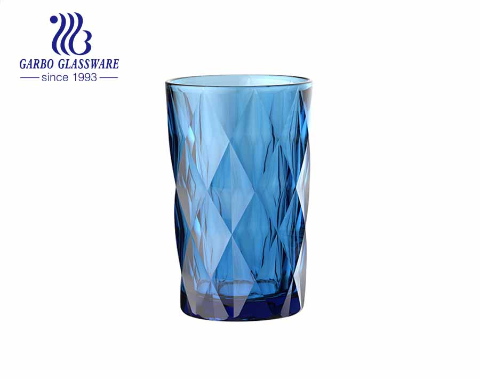 Vasos de vidrio de color en aerosol de alta calidad de 350 ml para vajilla de cristalería de supermercado para beber jugo de agua