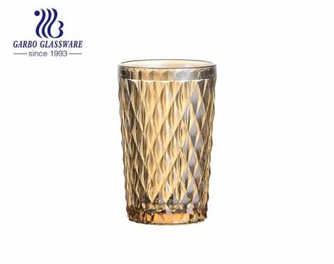 Cristalería ambarina del jugo del color ambarino de las tazas de cristal del diseño del diamante grande 350ml para el restaurante