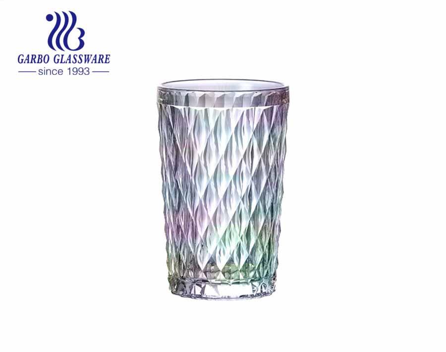 350ml big diamond design glass cups amber color juice glassware for restaurant