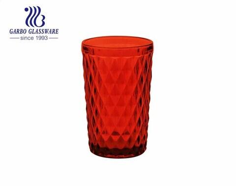 Vasos de vidrio de agua de diamante de 12 oz coloreados para el uso del restaurante de decoración del hogar