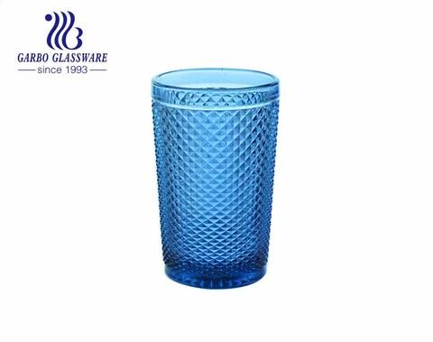 350ml pequeño diseño de diamante jugo de agua vasos de vidrio para beber restaurante colorido usando