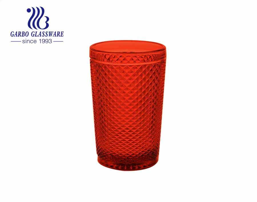 350 مل الماس تصميم صغير عصير الماء شرب أكواب زجاج ملون مطعم باستخدام