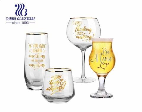 Cabina de salón VIP Vaso de vidrio de lujo de primera clase y juego de vasos de ginebra con calcomanía personalizada y borde dorado