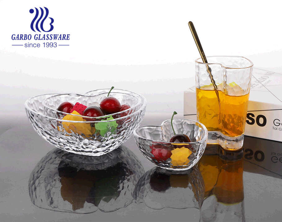 6inch heart-shape clear glass salad bowls with gold rim with high quality and good price