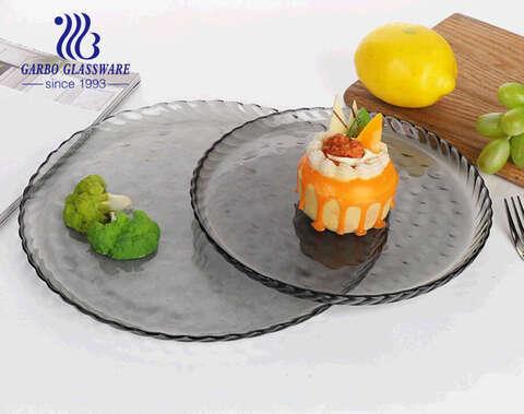 الجملة 8.5 بوصة المصنوعة يدويا الصلبة اللون الرمادي لوحة الفاكهة الزجاج مع تصميم بسيط