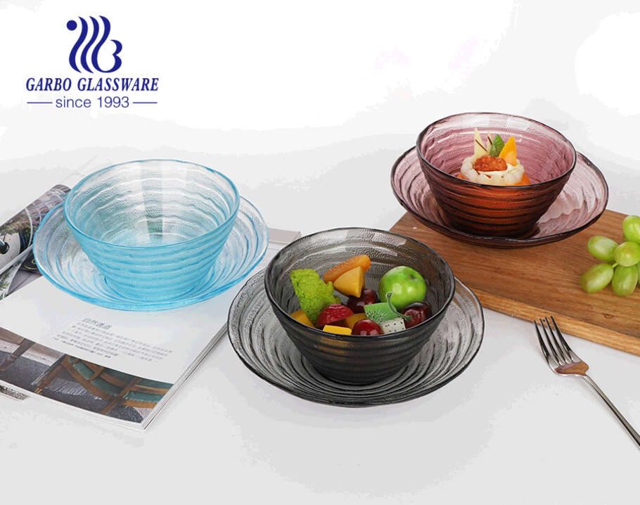 wholesale 8.5 inch handmade solid gray color glass fruit flat plate with simple design