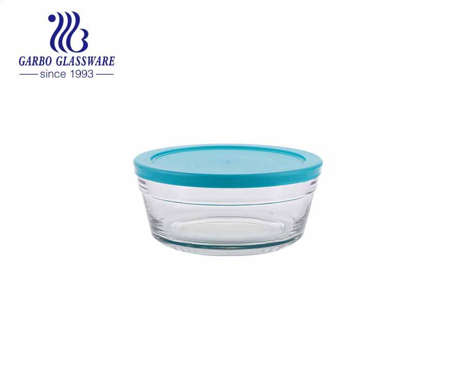 وعاء شوربة زجاجي آمن للخبز من البورسليكات مع غطاء مقاوم للتسرب بلون الشاي الكريستالي للاستخدام اليومي
