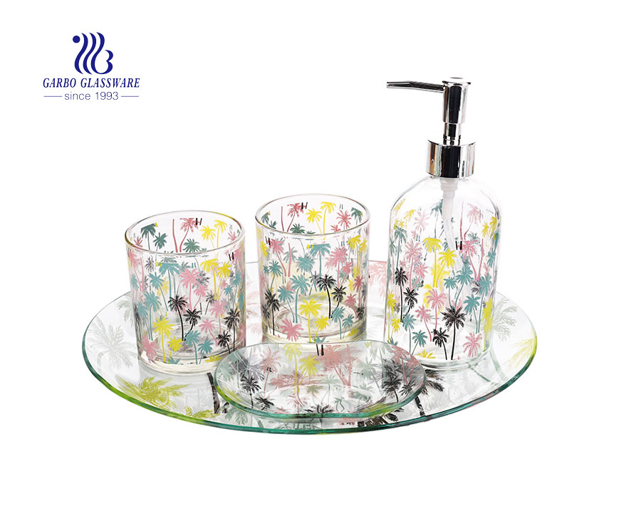 Hotel home use bathroom accessories set tooth cup soap dish hand soap dispenser with customized decal design