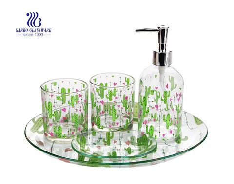 Khách sạn nhà sử dụng phụ kiện phòng tắm bộ răng cốc xà phòng đĩa xà phòng rửa tay với thiết kế decal tùy chỉnh