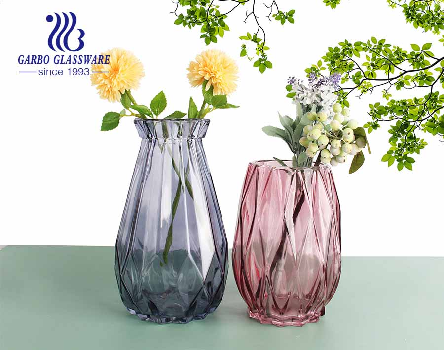 Purple Flora Glass Vase  Elagant Fancy Style  Tabletop  Glass Flower Holder  for dinning room living room hotel wedding party use