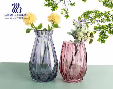 Vaso de vidro roxo Flora Elagant estilo extravagante suporte de mesa de vidro para flores para sala de jantar sala de estar em hotel para festa de casamento