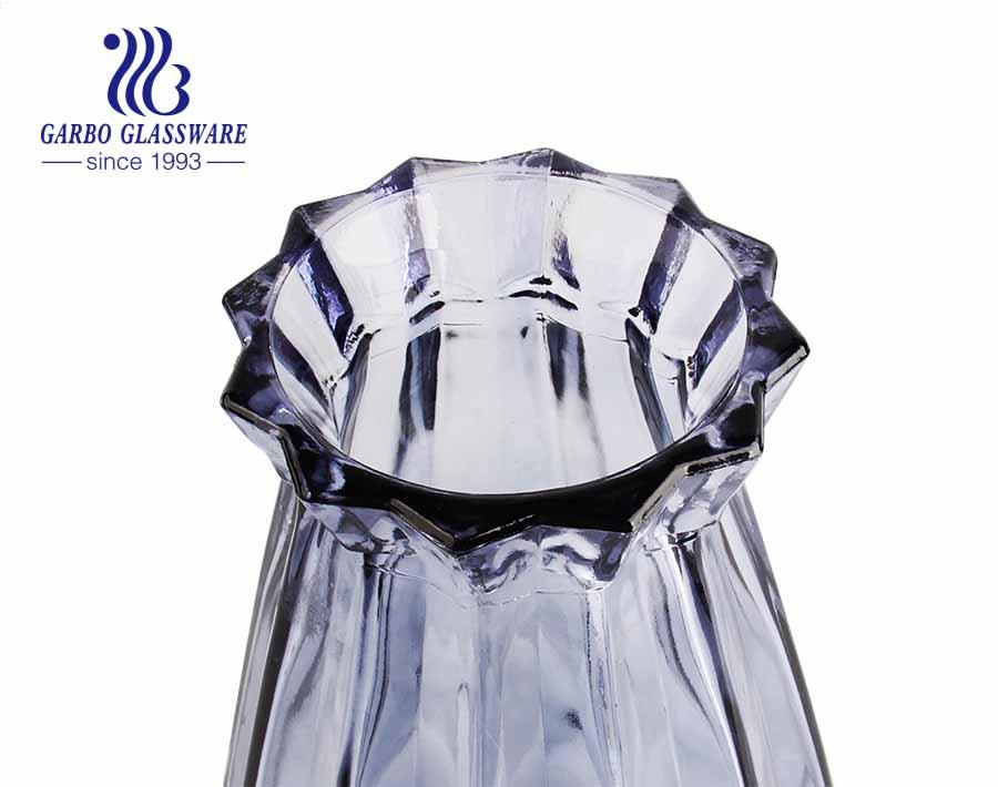 مزهرية زجاجية أرجوانية فلورا Elagant حامل زهور زجاجي على الطاولة لغرفة الطعام وغرفة المعيشة والفندق وحفلات الزفاف