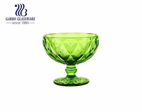 Diamante grande Verde Temporada de verão com pés Copo de sorvete de vidro 390ml Tigela de sobremesa tigela de salada de frutas