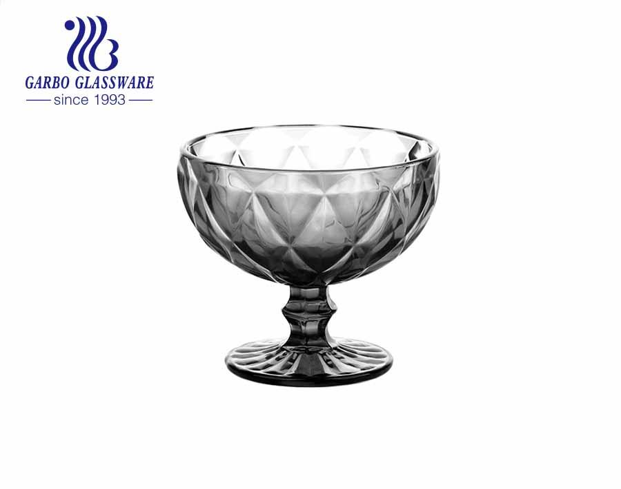 Big diamond Green Summer Season Footed  Glass Ice Cream Cup 390ml  Dessert Bowl fruit salad bowl