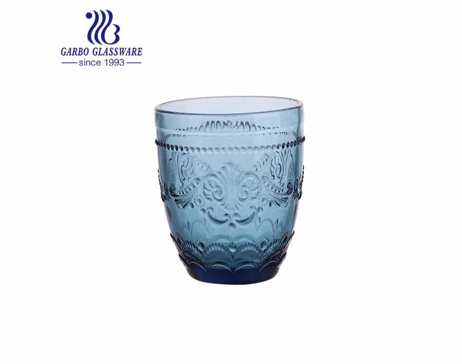 أكواب زجاجية ملونة عالية الجودة 300 مللي لمطعم شرب عصير الماء