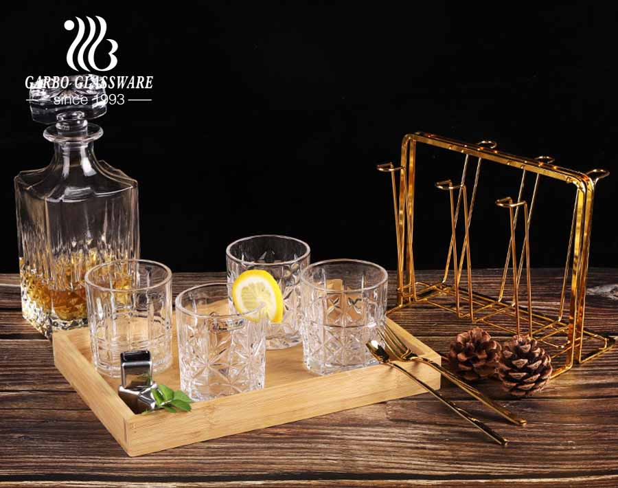 Classic engraved glass cup standard 8oz retro whiskey glass cups set of 4 mixed mold designs
