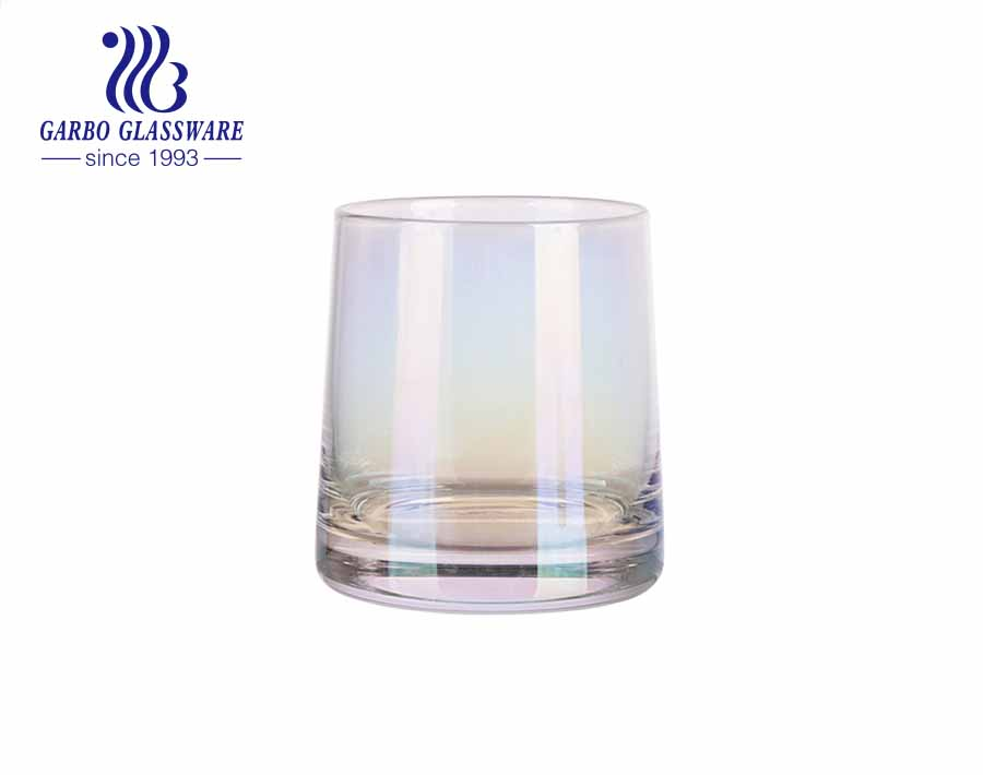 9oz handmade blown glass tumbler with unfading ion electroplating colors gold and iridescence