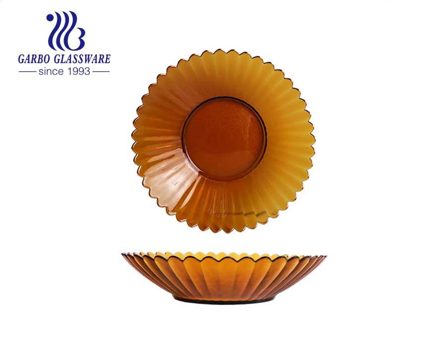 صحن سلطة فواكه زجاجي على شكل زهرة مزهرة مع زخرفة حافة ذهبية مكونة من المطرقة هدية جيدة للمهرجان