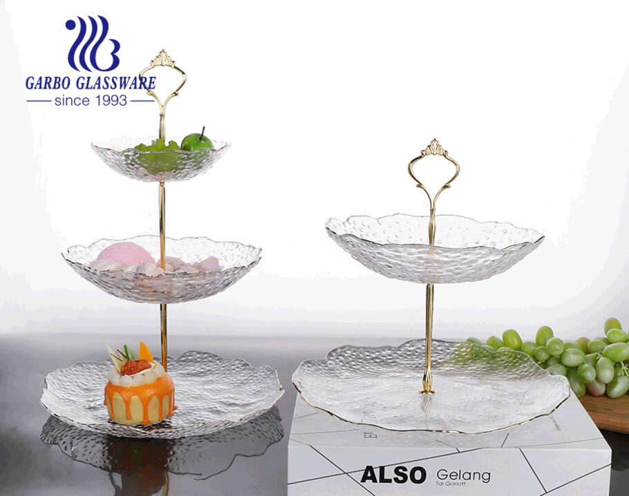 Luxury European-style 3-layer premium hand-made glass fruit cake plate set with simple design