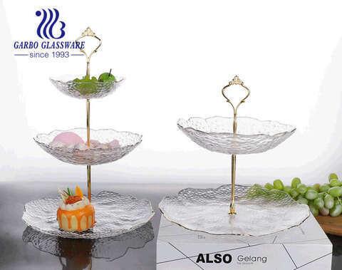 طقم أطباق فواكه زجاجية فاخرة مصنوعة يدويًا بثلاث طبقات فاخرة على الطراز الأوروبي بتصميم بسيط