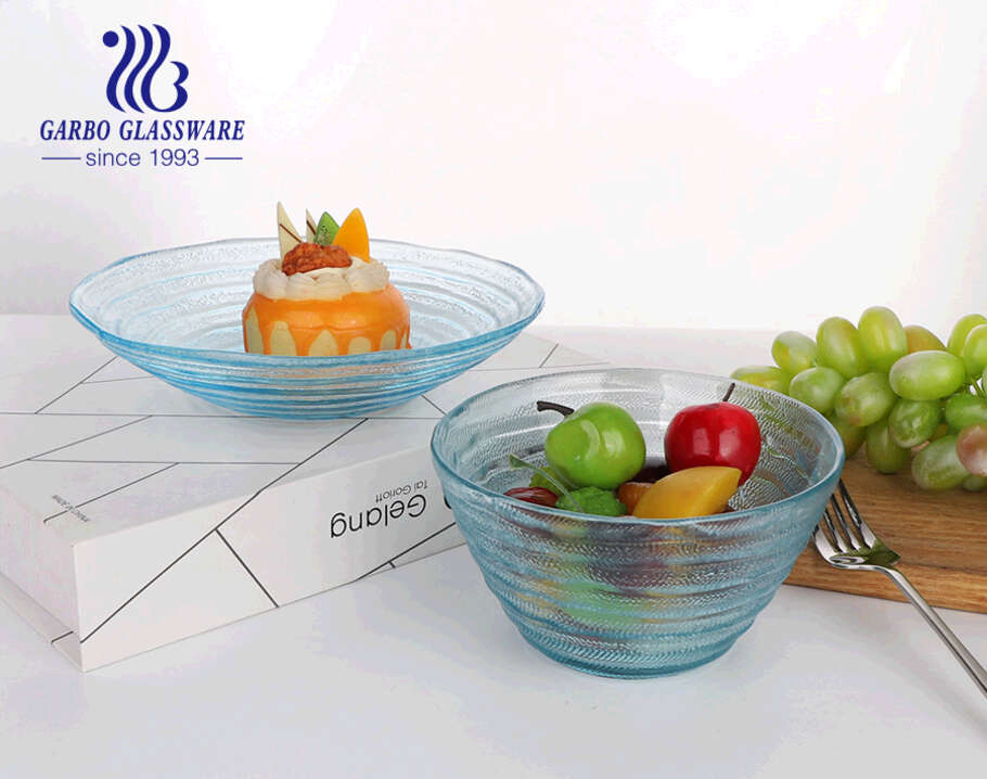 5.5inch premium circle design handmade solid blue color glass fruit salad bowl for party and salad mixing