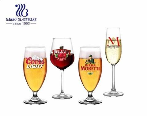 Ly bia dung tích lớn phổ biến ly rượu sâm panh chất lượng cao ly rượu vang đỏ với decal