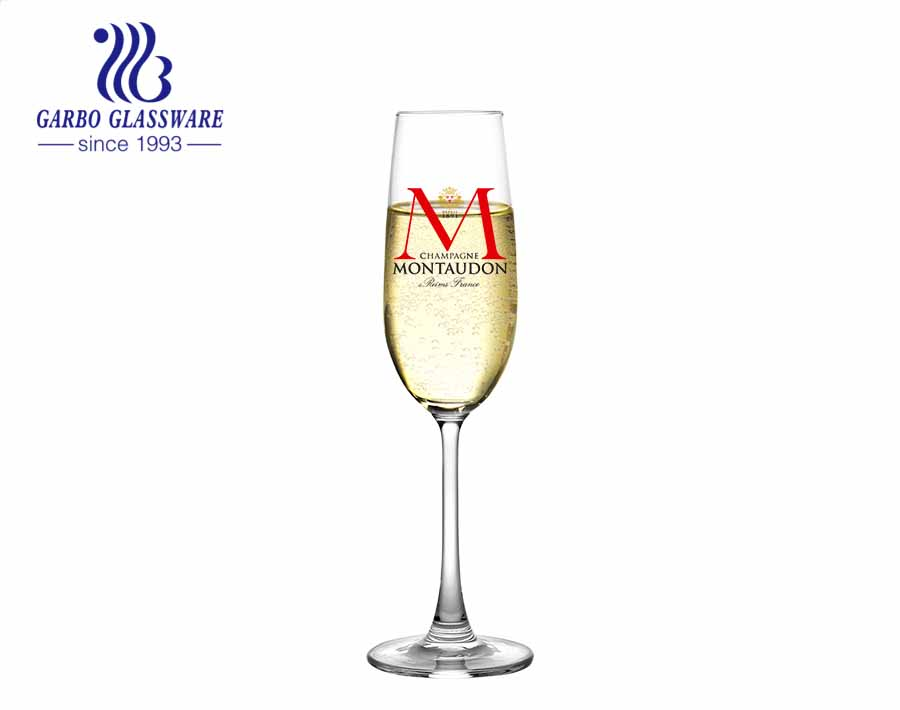 Popular large capacity beer glass cup high quality champagne red wine glass stemware with decal