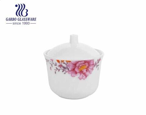 Pote de vidro opala resistente ao calor com flor de impressão