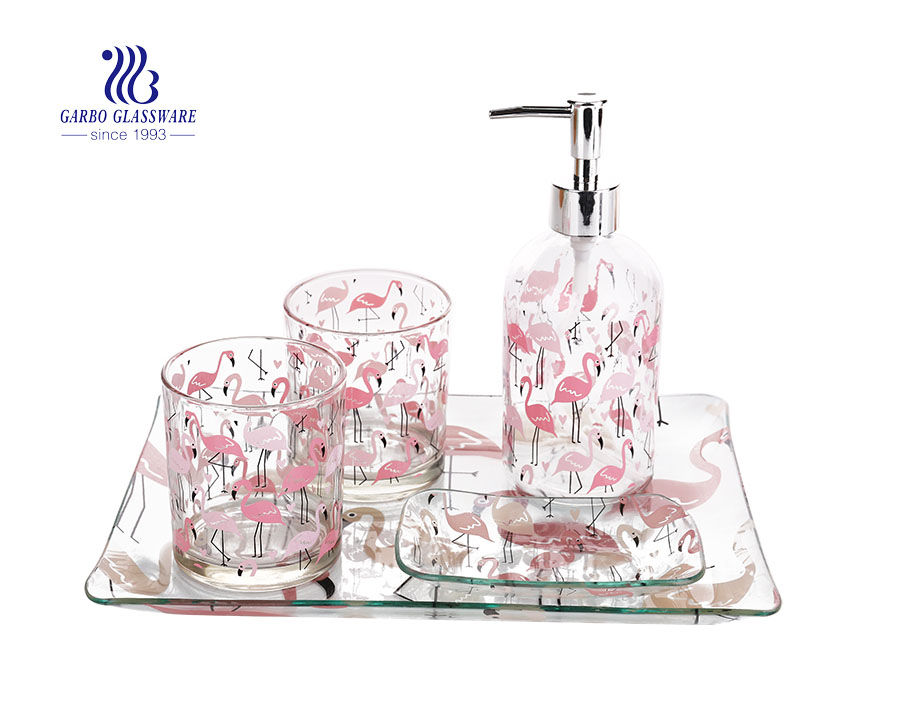Pink flamingo design pattern sweet bathroom accessories set tooth cup soap dish shampoo dispenser for hotel
