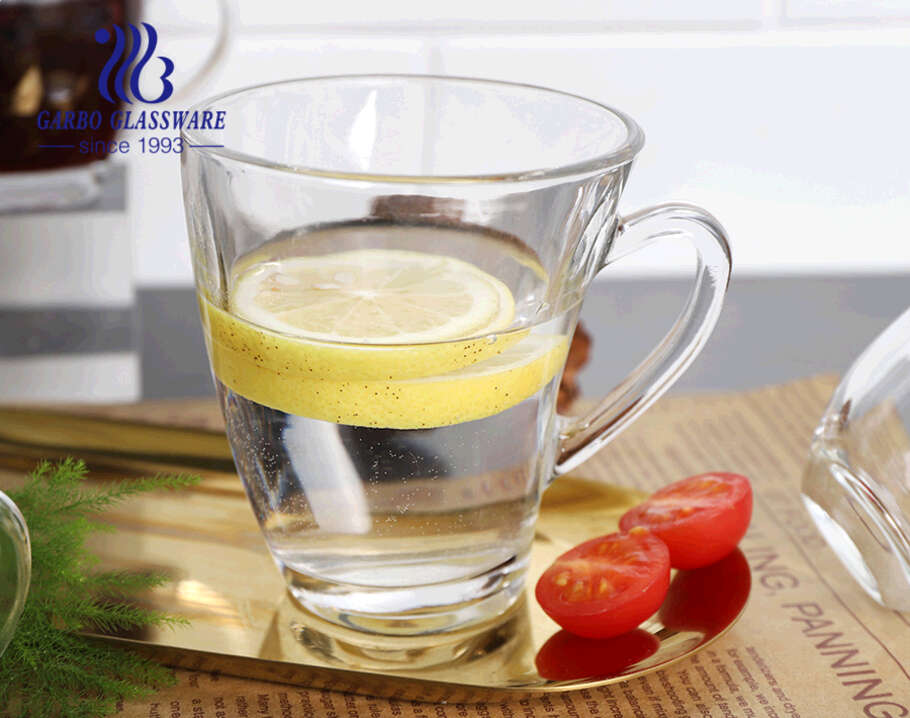 Unique shape glass cups with handles high quality clear C Shape glass mugs for coffee tea drink