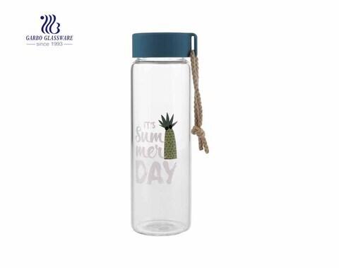 Botella deportiva de 500 ml sin plomo botella de vidrio de borosilicato sin plomo con tapa para jugo de agua fría y caliente