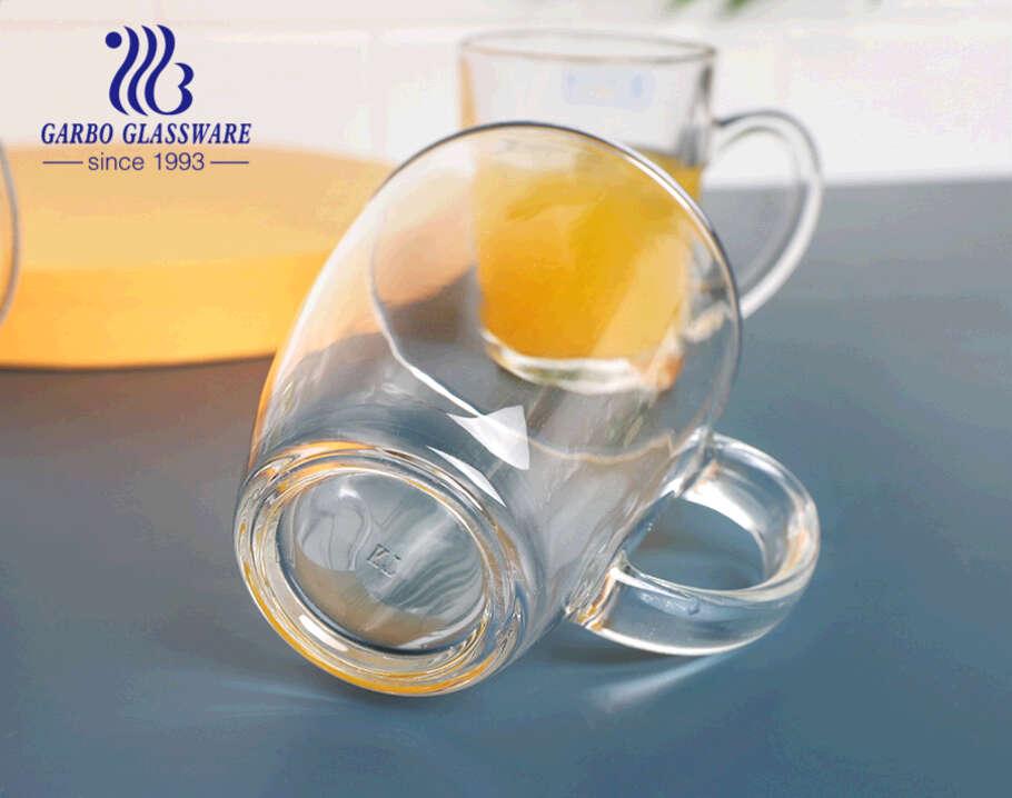 12 أونصة أكواب زجاجية كلاسيكية للمشروبات من أجل شاي وعصير لاتيه كابتشينو