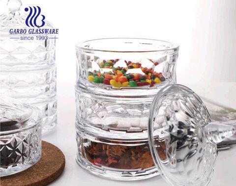 5 inch 3 lớp Nắp tháp có thể xếp chồng lên nhau Đĩa kẹo thủy tinh pha lê có nắp Bộ 4 hộp kẹo Đường bát đựng kẹo tự chọn lưu trữ