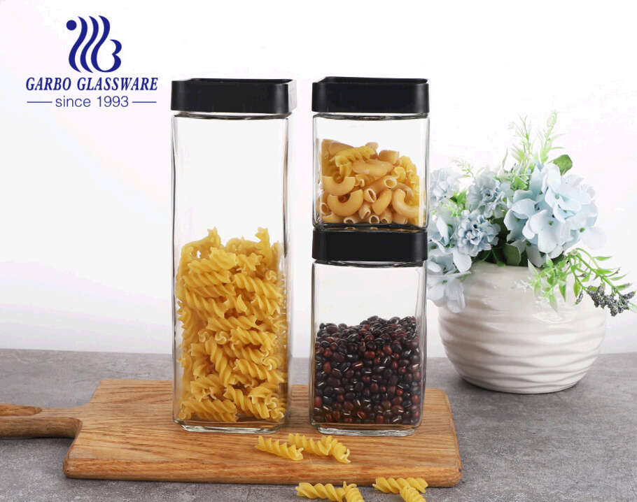 Kitchen Glass Jar Set Stackable Organization Canister Glass Jars Mixed Set of 3 640ML 896ML 1536ML