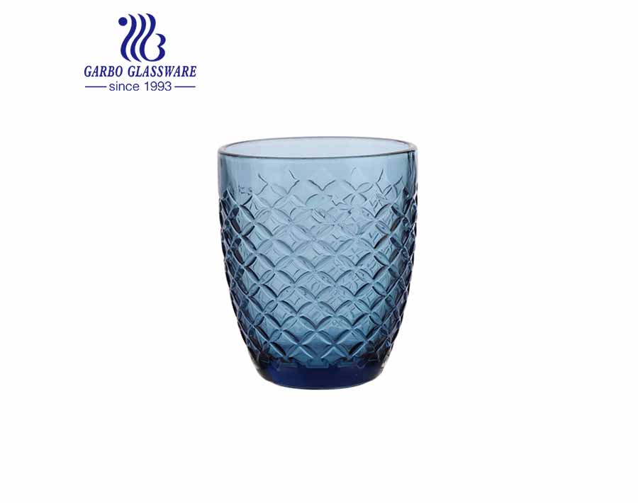 300ml blue solid color glass tumblers for water juice drinking pressed customized glassware