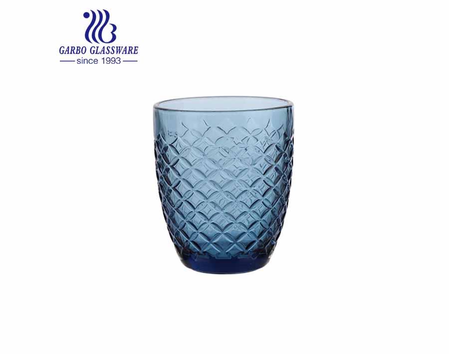 أكواب زجاجية ملونة زرقاء صلبة 300 مل لشرب عصير الماء أواني زجاجية مخصصة