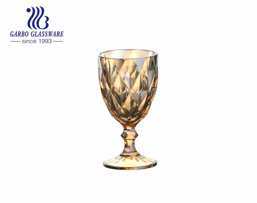300ml amber color ion plating glass goblets for home restaurant hotel using high quality