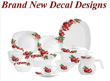 Brand New Garbo Opal Glassware Decal Designs