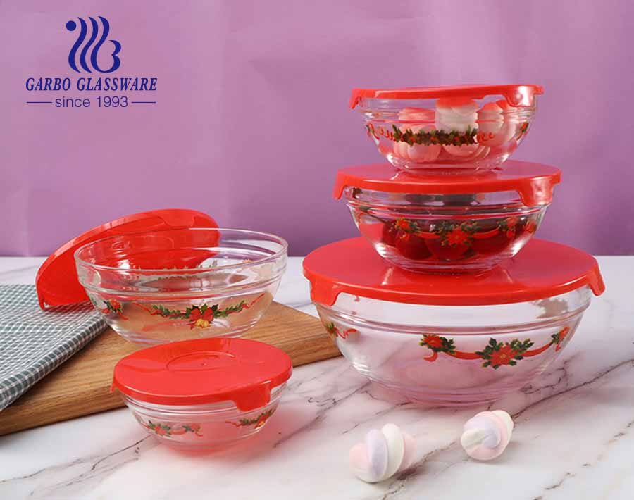 Wholesale supermarket hot sale 5 pcs glass bowls with customized logo and lid for kitchen use