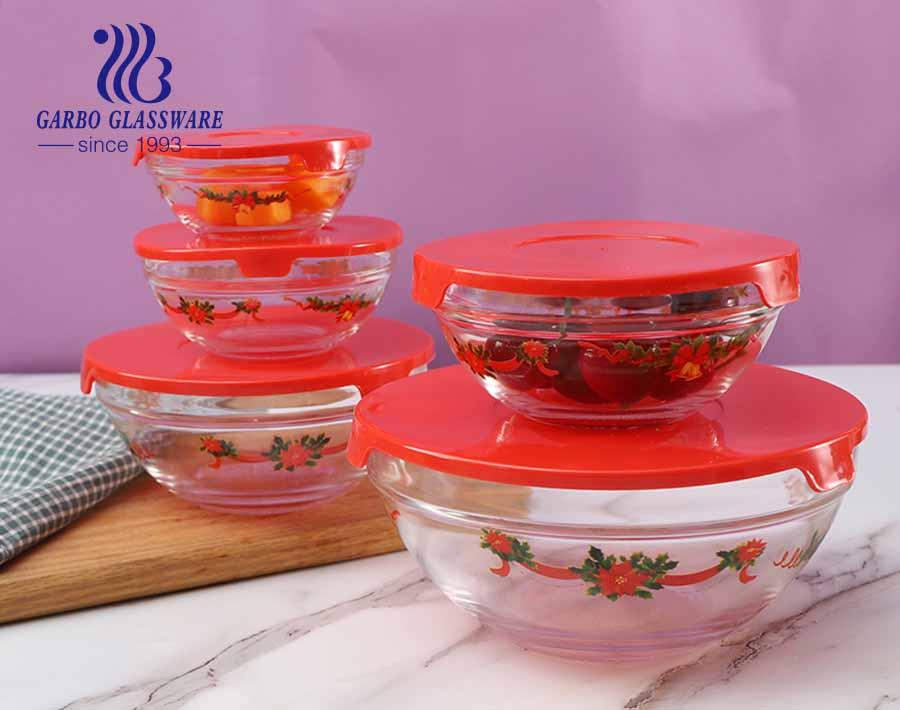 Siêu thị bán buôn bán nóng 5 chiếc bát thủy tinh có logo và nắp tùy chỉnh dùng trong nhà bếp