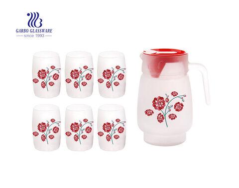 مجموعة إبريق شرب الماء الزجاجي الصقيع الرخيص مجموعة إبريق زجاجي مع غطاء ملون مخصص لصائق