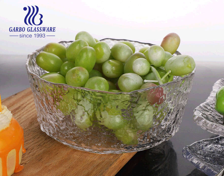 Hammer Pattern Design Transparent Handmade Glass Fruit Salad Bowl for Family Daily Using