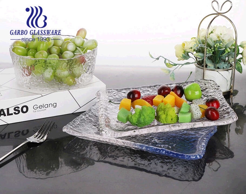 تصميم بنمط المطرقة مصنوع يدويًا من الزجاج الشفاف وسلطانية سلطة الفاكهة للاستخدام اليومي للعائلة