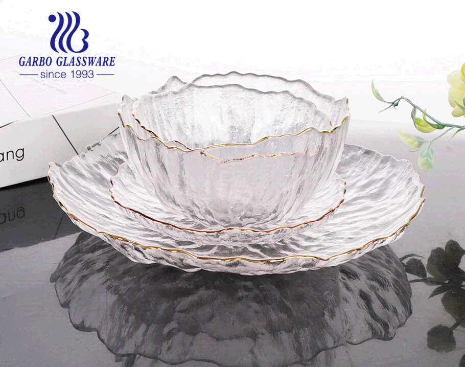 high-end 10 inch handmade light blue color glass fruit flat plate with textured design