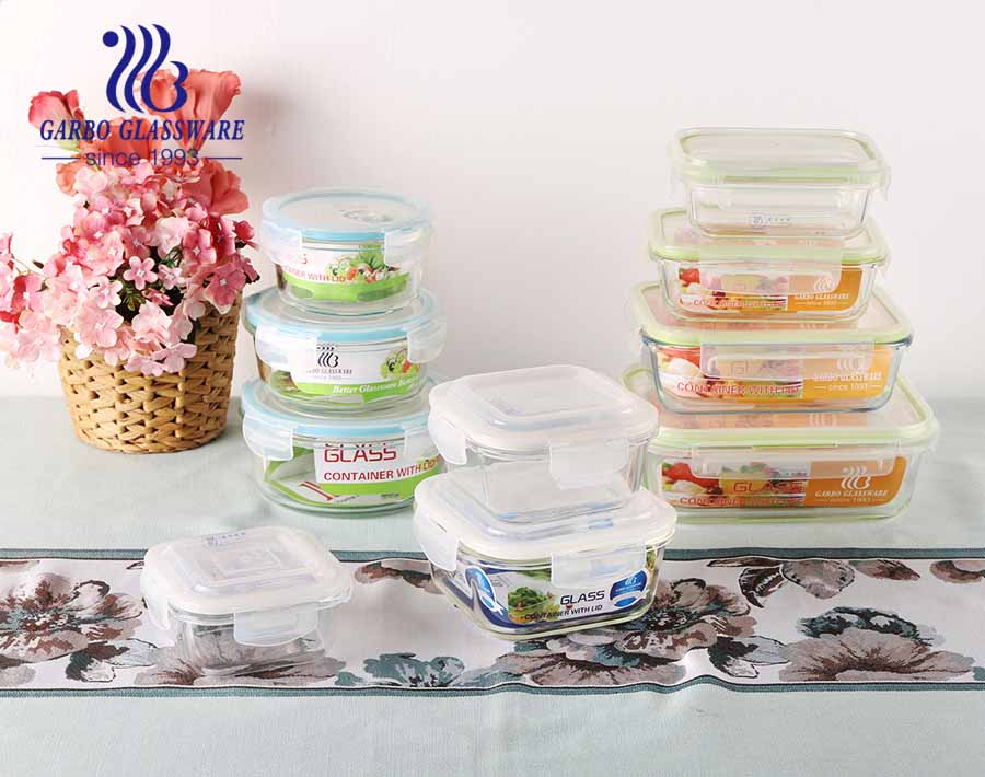 3 PCS high borosilicate glass food canister microwave oven safe glass bowl with customized decal design