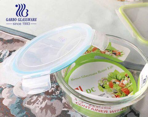 Hộp đựng thực phẩm thủy tinh cao 3 PCS lò vi sóng bát thủy tinh an toàn với thiết kế decal tùy chỉnh