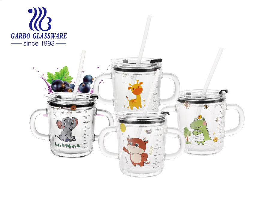 380ml cute decal glass cup with double handles children use milk water juice glass mugs with lid and straw