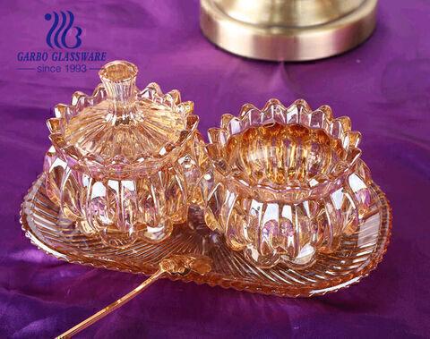 طقم مطلي بالايون مكون من 3 برطمانات زجاجية ذهبية اللون بغطاء مقاس صغير للكافيار بالصينية