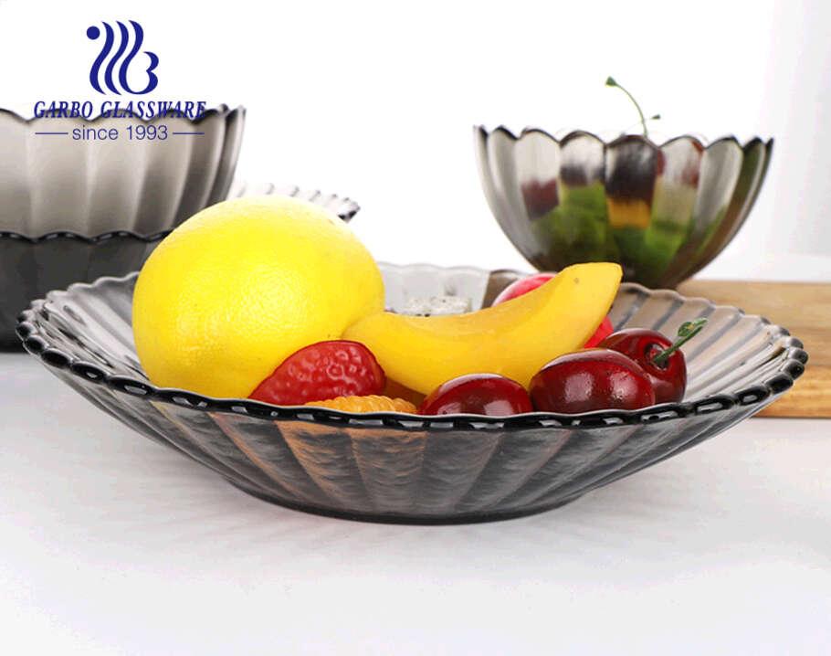 7.5 بوصة اليدوية تصميم أقحوان واضح بلون أسود زجاجي عميق لوحات الفاكهة